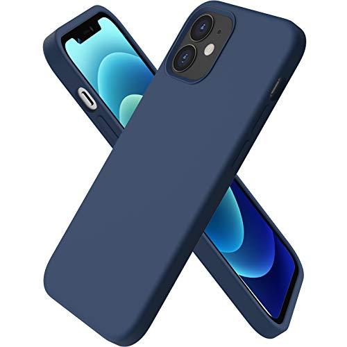 ORNARTO kompatibel mit iPhone 12 Mini 5,4 Silikon Hülle, Hülle Ultra Dünne Voller Schutz Flüssig Silikon Handyhülle Schutz für iPhone 12 Mini(2020) 5,4 Zoll Dunkelmarine