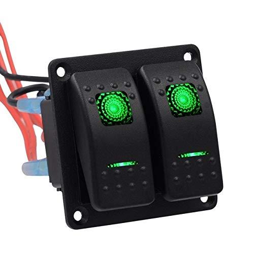 CAIZHIXIANG Interruptor Accesorios del Coche del Interruptor de Encendido Rocker Combinación * 2 Interruptor de Encendido, Apagado (Color : Verde, Size : Gratis)