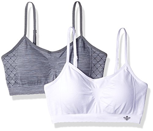 Lily of France Women's Dynamic Duo 2 Pack Seamless Bralette 2171941, Tiffany Silver/White, Large/X-Large