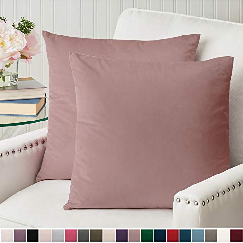The Connecticut Home Company Luxurious Velvet Throw Pillow Cases, Set of 2 Decorative Case Sets, Square Pillow Covers, Soft Pillowcases for Living Room, Bedroom, Couch, Sofa, Bed, 18x18, Dusty Pink