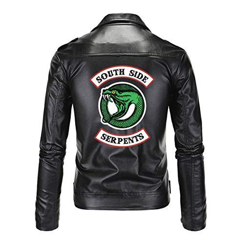 AIWUYOU Britische Herren Lederjacke Southside Riverdale Micro-Standard Snake Print Jacke Motorrad Slim Snake Lederjacke Jacke