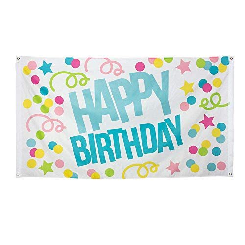 Boland 31001 – Bandera decorativa Happy Birthday, 1 pieza, tamaño 90 x 150 cm, cumpleaños, confeti, serpentina, bandera, poliéster, decoración de pared, guardería, fiesta