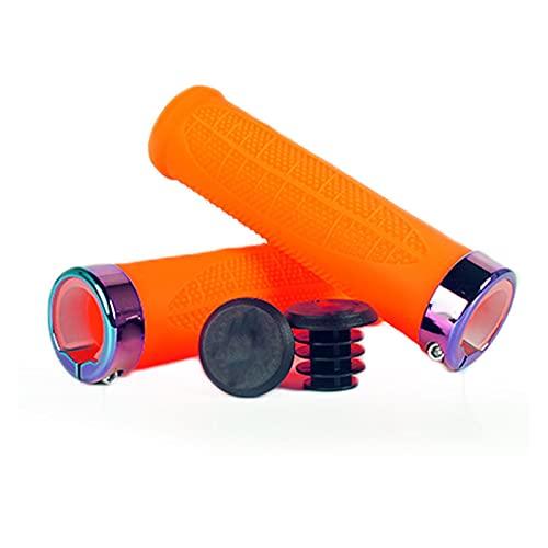 SQATDSBIKE Mountain Bike Grips Soft Silicone Bike Grips Anti-Slip Smorzamento 22.2mm Grip per Biciclette con Serratura Anello Free Bar Plug End (Colore : Arancia)