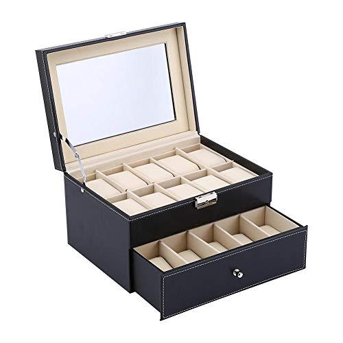 Caja de Reloj con Tapa de 20 Rejillas, 2 Capas Relojes de Hombre Vitrina Joyero Gemelos Caja de Almacenamiento Caja de Pulsera Bandeja de Cuero de imitación, Negro