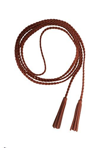 Nanxson Mujer Chicas Delgado Cintura Cuero Cadena Cuerda Cinturón Borlas PDW0042 (L, Camello)