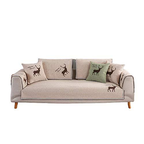 Algodón en Forma de L Funda de sofá de Lino Funda para apoyabrazos Toalla Cojín para sofá Funda para Perros Gatos Pet Love Asiento reclinable,Beige,70x210cm