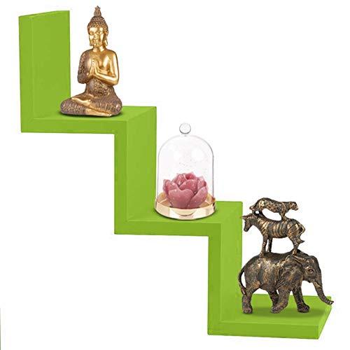 BAKAJI Libreria Mensole da Parete Moderna Design Zig Zag Mensola Scaffale in Legno Melaminico Dimensione 59 x 12 x 12 cm (Verde)