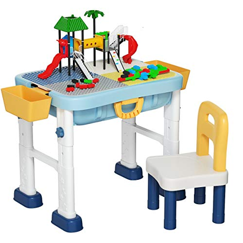 Costzon 6 in 1 Kids Multi Activity Table Set, Height Adjustable, Building Block Table w/Storage, Drawing Table & Chair w/Pen, Convert to Toddler Luggage, Folding Children Sand Table Gift Toy