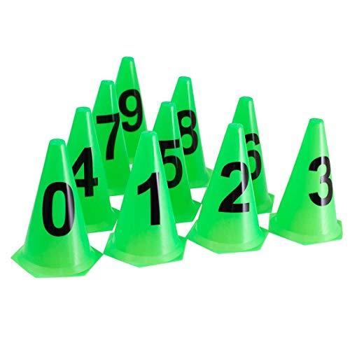 AX Esportes Kit 10 Cones Numerados Treinamento, Limão, 24cm