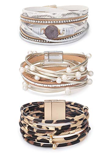 Milacolato 3Pcs Multilayered Leather Cuff Bracelet for Women Braided Wrap Bangle Bohemian Druzy Pearl Beads Leopard Leather Cuff Bracelet Jewelry Women Gifts
