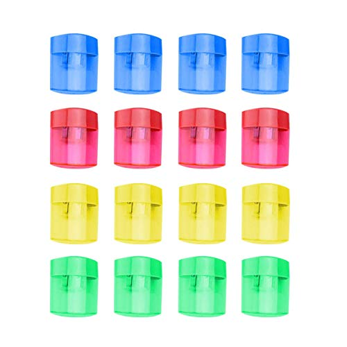 16 Pcs Double Hole Oval Shaped Pencil Sharpener, Manual Pencil Sharpener Hand Pencil Sharpener with Cover and Receptacle for School Home and Office Supply (16Pcs)