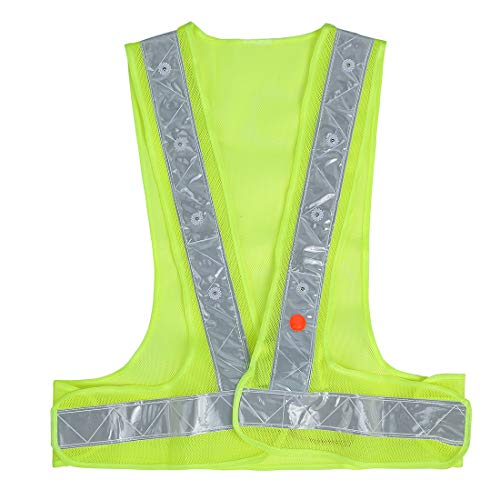 LED Light Up Safety Vest High Visibility Running Cycling Reflective Vest,Yellow