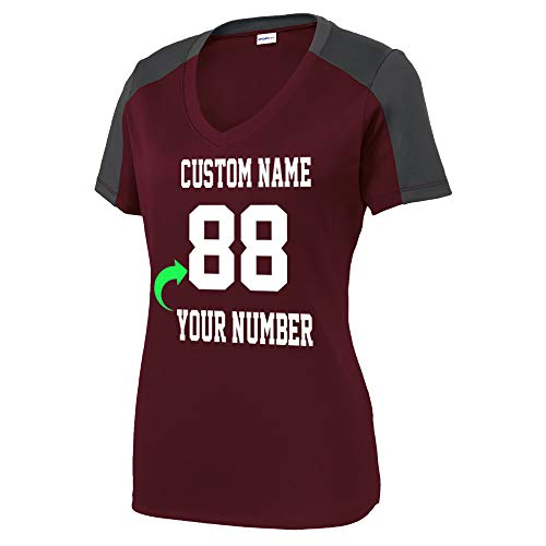 Customized Unisex and Ladies Jersey Personalized with Your Name and Team Number Soccer Volleyball Jersey Maroon Iron Grey