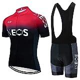 CQXMM Traje de Ciclismo para Hombre de Equipos. Culotte y Maillot con 3D Gel Pad para MTB, Spinning, Bicicleta de Carretera