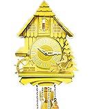 Kult AG Pappuhr XL - Kuckucksuhr modern aus Pappe mit 2 natürlichen Tönen (abschaltbar, batteriebetrieben) Vintage Wand Deko für die Wohnung Made in Germany