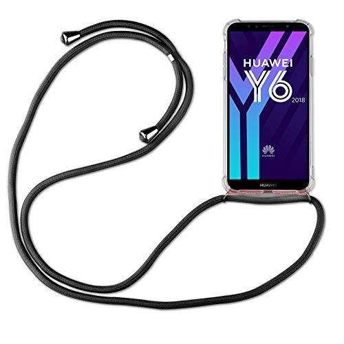 betterfon | Huawei Y6 2018 Handykette Smartphone Halskette Hülle mit Band - Schnur mit Hülle zum umhängen Handyhülle mit Kordel zum Umhängen für Huawei Y6 2018 / Honor 7A Schwarz