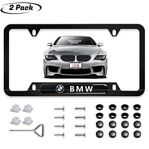 License Plate Frames Fit to BMW Front and Rear, 2pcs 3D Polyurethane Logo Matte Aluminum