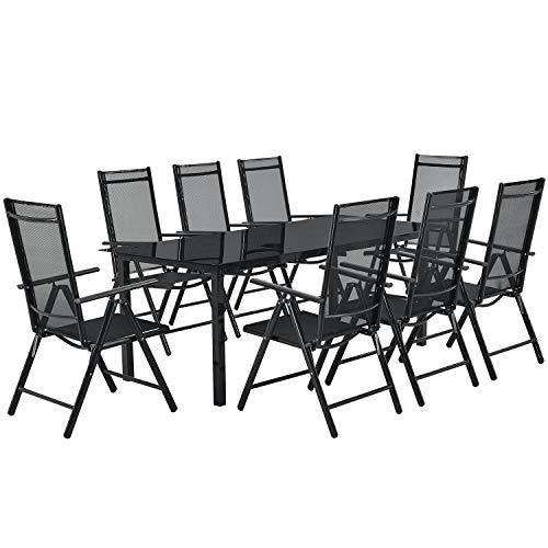 ArtLife Aluminium Gartengarnitur Milano | Gartenmöbel Set mit Tisch & 8 Stühlen | dunkel-grau mit schwarzer Kunstfaser | Alu Sitzgruppe Terrassenmöbel