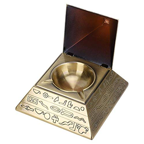 Fydun Cenicero de decoración del hogar, cenicero de Metal con Forma de pirámides egipcias con Tapa Uso de Interior al Aire Libre Decoración de Mesa de Oficina(Cobreño)