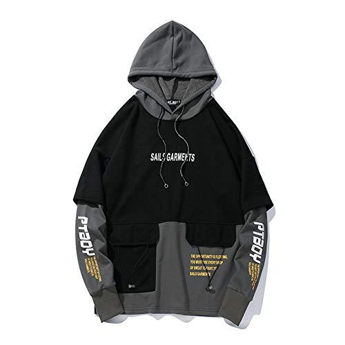 Primavera otoño suéter para niños de calle Hip-hop suelto con capucha mono falso, dos bolsillos, color a juego con capucha para niñas y parejas, color negro