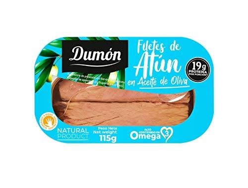 DUMON - 12 unidades. Filetes de Atún en Aceite de Oliva en Conserva. 115g cada unidad de pescado en enlatado. Atún en lata alto en proteína y Omega 3.