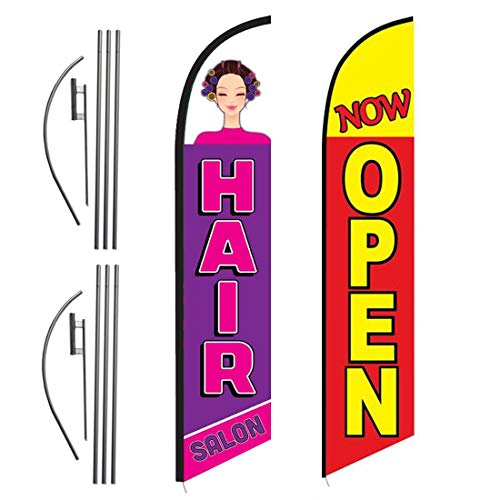 FFN Hair Salon and Yellow Now Open 15ft Outdoor Advertising Feather Swooper Banner Flag Kit Sign with Ground Stake & Flagpole, Open Signs for Hair Salons