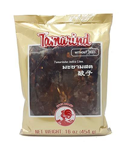 Thai Wet Tamarind Pulp Block Seedless Cock Brand 16 Oz.(Pack of 2)