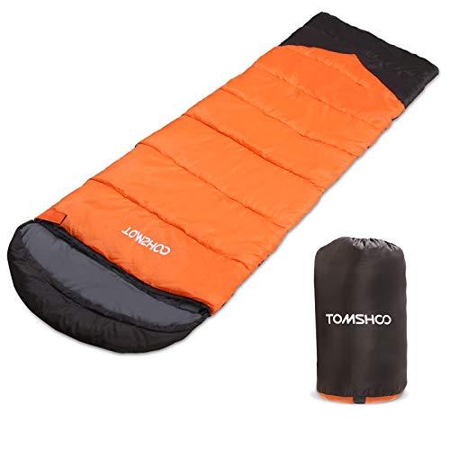 TOMSHOO Saco de Dormir Rectangular, Saco de Dormir Adulto Ligero con Capucha y Bolsa de Compresión, para Viaje Camping y Senderismo, 220 * 80 * 3cm