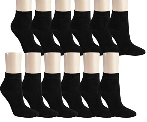 Vitasox 15268-69 Damen Kurzsocken Baumwolle Sneakersocken uni Damensocken ohne Naht schwarzundweiß 12er Pack 39/42