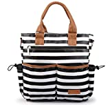BAGSFINITEE Tote Classic Stripes Diaper Bag with Matching Changing Pad and Stroller Hooks
