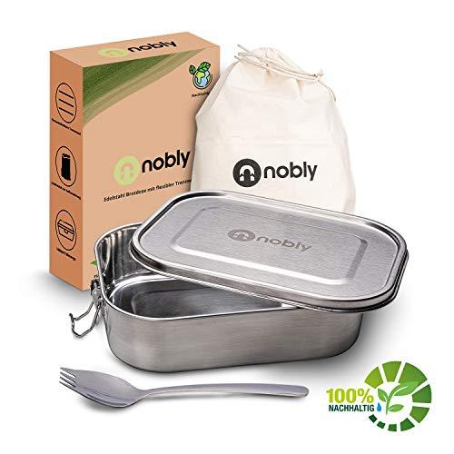 Nobly Edelstahlbrotdose - [1400ml] Brotdose mit Flexibler, herausnehmbarer Trennwand - inklusive Aufbewahrungsbeutel - mit praktischem Göffel