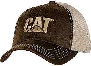 Caterpillar CAT Heavy Equipment Brown Waxy Khaki Mesh Cap/Hat