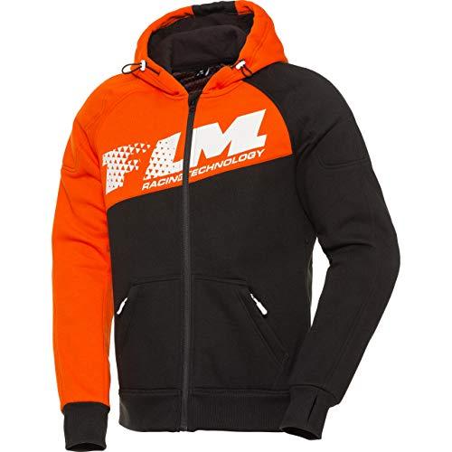 FLM Hoodie Sweatshirt Sweatjacke Kapuzenpullover Hoodie mit Protektoren, Motorrad-Hoodie, Schulter-, Ellbogenprotektoren, elastische Ärmelbündchen und Jackensaum, Einschubtaschen, Orange, M
