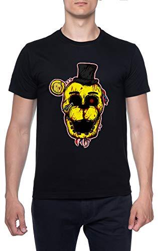 Sangriento Dorado Freddy FNAF Negro Hombre Camiseta Mangas Cortas Tamaño XL Mens T-Shirt Black Size XL