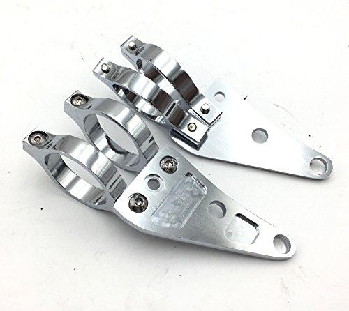 HTT Supports de fixation chromés de 41 mm pour clignotants de moto, fourche et oreille, Cafe Racer - Noir - Universel - Honda CBR Kawasaki Suzuki Yamaha Harley Davidson