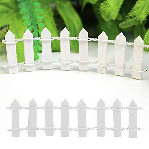DeWin Barriere de Jardin - Mini clôture en Bois de décor de Jardin barrière de Pot de Bricolage pour Ornement Miniature 100Pcs Blanc
