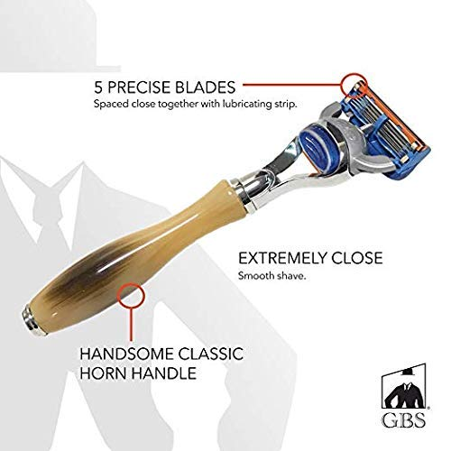 GBS Men's Grooming Deluxe 5 Blade Fusion Compatible Razor - Faux Horn & Stainless Steel Long Handle for Grip High Quality Professional Cartridge Shaving Razor Lubricated Strip Protects Skin