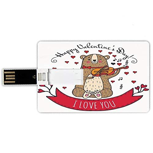 16GB Chiavette USB a forma di carta di credito San Valentino Memory Card stile carta di credito Orsacchiotto con violino realizzato con amore Note musicali romantiche Cuore Ti amo,rosso marrone Penna