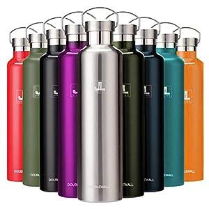 スポーツボトル 真空断熱 保冷水筒 ステンレス鋼304 魔法瓶 直飲み 0.5/0.6/0.75/1リットル (シルバー, 1000ml)