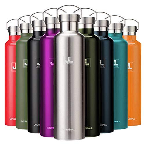 スポーツボトル 真空断熱 保冷水筒 ステンレス鋼304 魔法瓶 直飲み 0.5/0.6/0.75/1リットル (シルバー, 500ml)