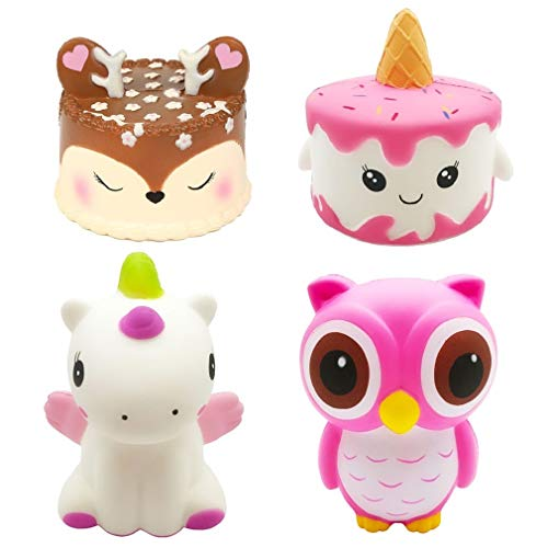 Kayoon 4Pcs Jumbo Slow Rising Squishies Kawaii Cute Deer Cake Narwhal Cake Dinosaur Owl Cream Scented Squishy Kids Toys Doll Stress Relief Toy Hop Props Decorative Props Large