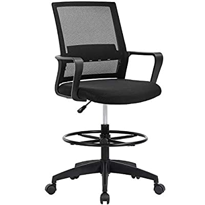 Drafting Chair Tall Office Chair Adjustable Height with Lumbar Support Arms Footrest Mid Back Desk Chair Swivel Rolling Mesh Computer Chair for Adults Standing Desk Drafting Stool