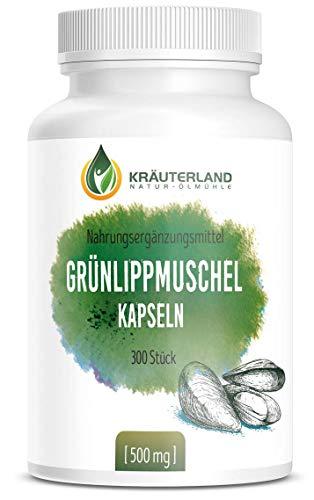 Kräuterland - Grünlippmuschel Kapseln - 300 Stück je 500mg - Tagesportion 1500mg Grünlippmuschelpulver aus Neuseeland - hochdosiert, 100% rein - deutsche Premiumqualität - 3-5 Monatsvorrat