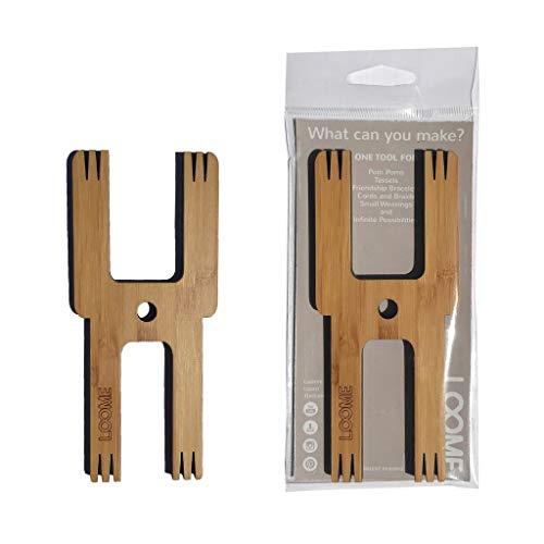 Pompoms herstellung, weben & häkeln - [LOOME Handarbeitszubehör] 5 in 1 bamboo handwerk werkzeug - DIY kreativ Bommelmacher, kugelweber Hand Nähen, Spitz, stricken - Robot...