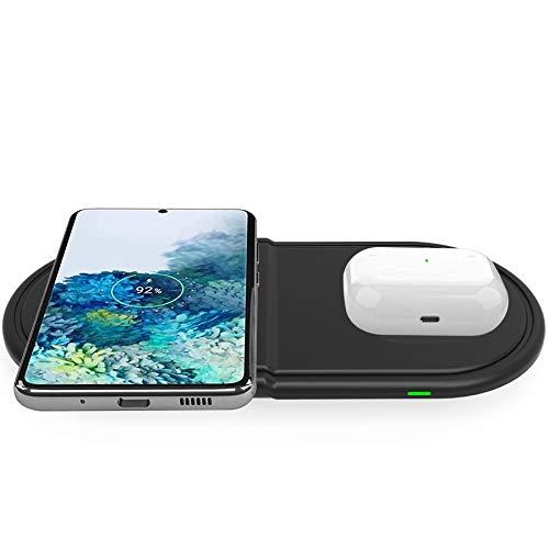 Kdely Caricatore Wireless Doppio 10W Ricarica Wireless Rapida 2 in 1 Compatibile con Samsung S20 Ultra/S10/Note 20 Ultra/10/iPhone SE 2020/12 PRO Max/11 PRO...