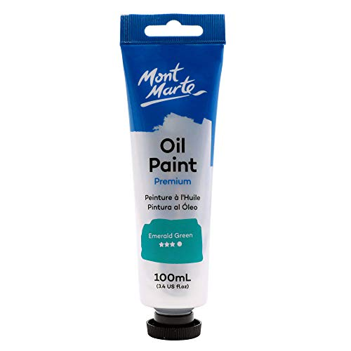 Mont Marte Premium Oil Paint, 100ml (3.4oz), Emerald Green, Good Coverage, Excellent Tinting Strength