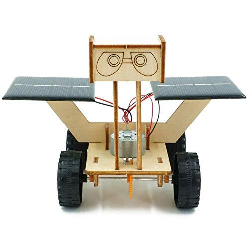 Modelo de coche de energía solar eléctrico hecho a mano DIY, montaje de vehículo lunar niños estudiantes juego de juguete de experimento de ciencia educativa(Madera)