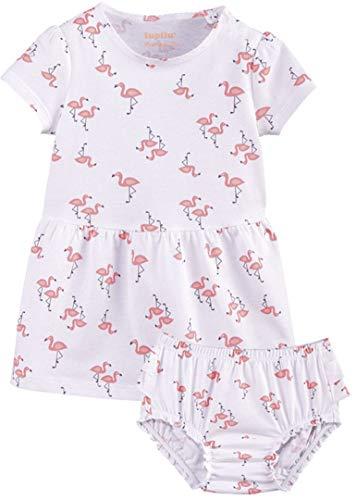lupilu® Baby Mädchen Sommerkleid mit Höschen, Reine Baumwolle (weiß rosa Flamingo, Gr. 86/92)