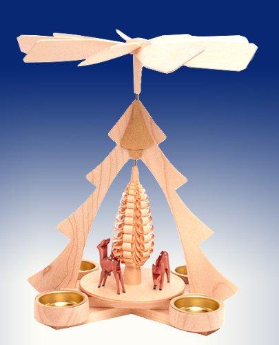 Rudolphs Schatzkiste Tischpyramide Rehe Natur mit Teelicht BxHxt 21x26x22,5cm NEU Tischdekoration Dekoration Weihnachten Wärmespiel Lichter Figur Edelholz Seiffen Erzgebirge Holz Flügel Kerzen