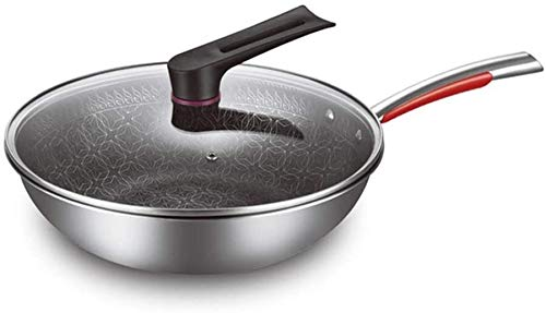 min min RNWEN Wok 304 Acero Inoxidable Wok Non-Smoking Ant-STKE Tain Fondo Plano Pote Universal Pot Stir-Fry Pans (Color: Acero Inoxidable, Tamaño: 32x9cm) (Color : Stainless Steel, Size : 32x9cm)